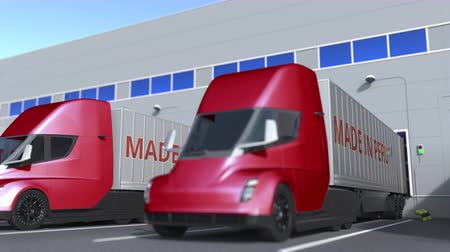 treyler : Modern semi-trailer trucks with MADE IN PERU text being loaded or unloaded at warehouse. Peruvian business related loopable 3D animation