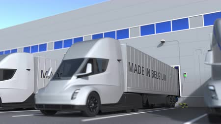 belgie : Trailer trucks with MADE IN BELGIUM text being loaded or unloaded at warehouse. Belgian business related loopable 3D animation Dostupné videozáznamy