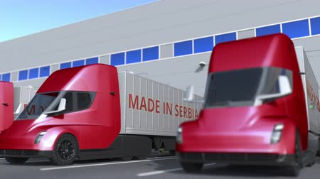 sérvia : Modern semi-trailer trucks with MADE IN SERBIA text being loaded or unloaded at warehouse. Serbian business related loopable 3D animation