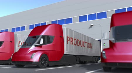 szállító : Modern semi-trailer trucks with PRODUCTION text being loaded or unloaded at warehouse. Loopable 3D animation Stock mozgókép