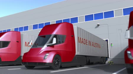 finland : Modern semi-trailer trucks with MADE IN AUSTRIA text being loaded or unloaded at warehouse. Venezuelan business related loopable 3D animation