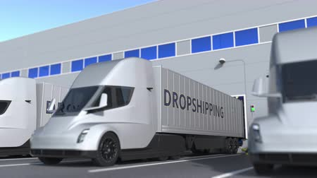 szállító : Modern semi-trailer trucks with DROPSHIPPING text being loaded or unloaded at warehouse. Loopable 3D animation