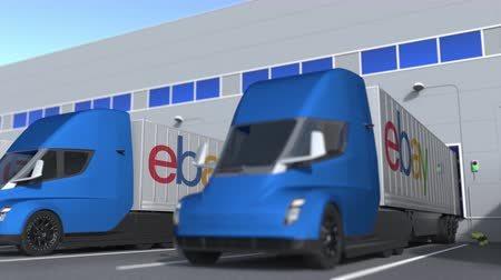 ebay : Modern trailer trucks with eBay logo being loaded or unloaded at warehouse. Logistics related loopable 3D animation