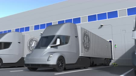 general electric : Trailer trucks with General Electric GE logo being loaded or unloaded at warehouse. Logistics related loopable 3D animation