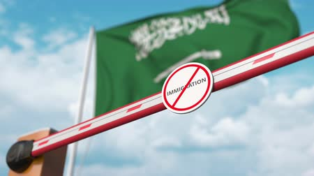 siyasi : Open boom gate with no immigration sign on the flag background. Immigration approval in Saudi Arabia