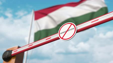 siyasi : Open boom gate with no immigration sign on the Hungarian flag background. Immigration approval in Hungary Stok Video