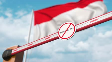 siyasi : Open boom gate with no immigration sign on the Indonesian flag background. Immigration approval in Indonesia Stok Video