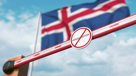 göçmen : Open boom gate with no immigration sign on the Icelandic flag background. Immigration approval in Iceland Stok Video