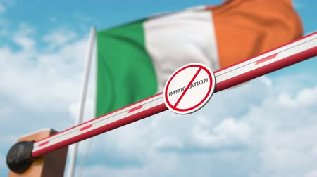 siyasi : Open boom gate with no immigration sign on the Irish flag background. Immigration approval in Ireland