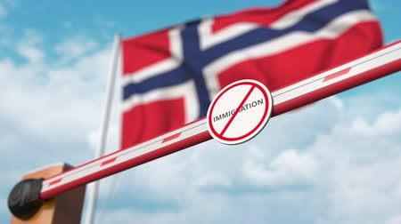 göçmen : Barrier gate with no immigration sign being opened with flag of Norway as a background. Norwegian immigration approval