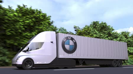 repuestos : Electric semi-trailer truck with BMW logo on the side. Editorial loopable 3D animation