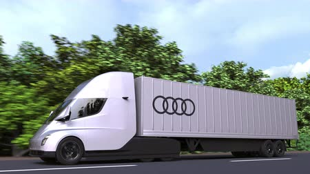 repuestos : Modern electric semi-trailer truck with AUDI logo on the side. Editorial loopable 3D animation