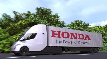 грузовики : Electric semi-trailer truck with HONDA logo on the side. Editorial loopable 3D animation