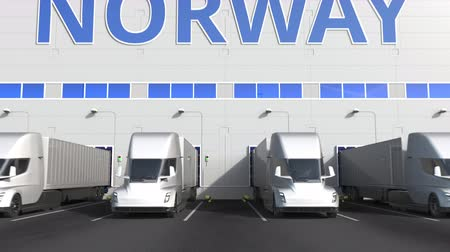 kapasite : Trailer trucks at warehouse loading dock with PRODUCT OF NORWAY text. Norwegian logistics related 3D animation