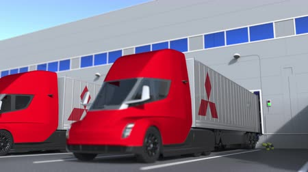 importação : Modern semi-trailer trucks with Mitsubishi logo being loaded or unloaded at warehouse. Logistics related loopable 3D animation