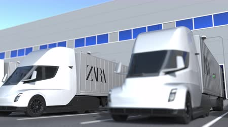 elosztó : Modern semi-trailer trucks with Zara logo being loaded or unloaded at warehouse. Logistics related loopable 3D animation Stock mozgókép