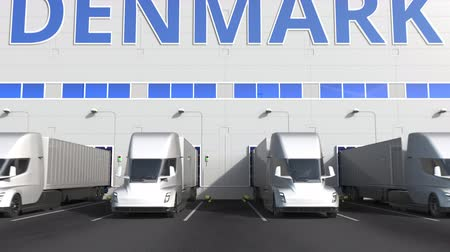 danimarka : Electric semi-trailer trucks at warehouse loading dock with PRODUCT OF DENMARK text. Danish logistics related 3D animation Stok Video