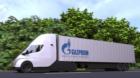 gazprom : Electric semi-trailer truck with Gazprom logo on the side. Editorial loopable 3D animation