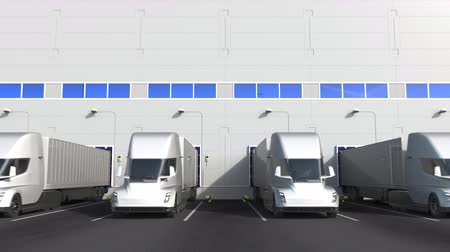 storing : Electric semi-trailer trucks at warehouse loading dock with PRODUCT OF UAE text. United Arab Emirates logistics related 3D animation Stock Footage