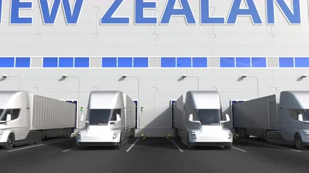 nouvelle zélande : Trailer trucks at warehouse loading dock with PRODUCT OF NEW ZEALAND text. logistics 3D animation Vidéos Libres De Droits