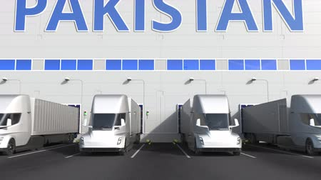 kapasite : Modern semi-trailer trucks at warehouse loading dock with PRODUCT OF PAKISTAN text. Pakistani logistics related 3D animation Stok Video