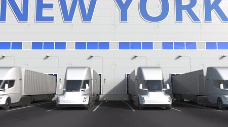 capacidade : Modern semi-trailer trucks at warehouse loading dock with PRODUCT OF NEW YORK text. logistics related 3D animation Vídeos