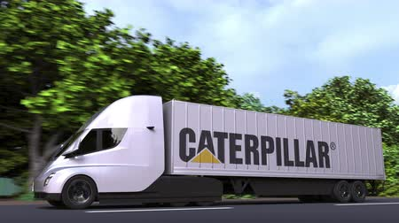hernyó : Electric semi-trailer truck with CATERPILLAR logo on the side. Editorial loopable 3D animation