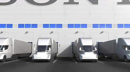 huge sale : Electric semi-trailer trucks at warehouse loading bay with SONY logo on the wall. Editorial 3D animation