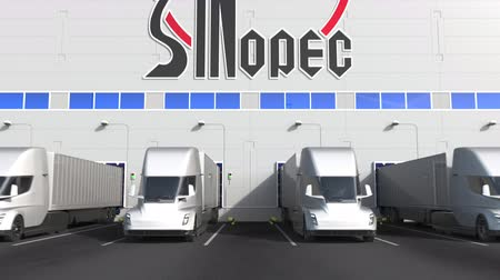 embarques : Electric semi-trailer trucks at warehouse loading bay with SINOPEC logo on the wall. Editorial 3D animation