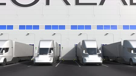 lâmina : Modern trailer trucks at warehouse loading bay with LOREAL logo on the wall. Editorial 3D animation