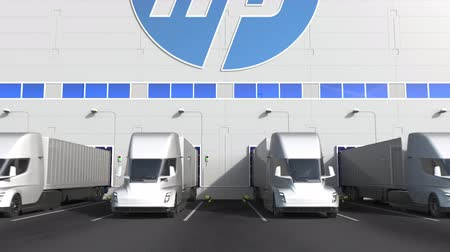 eksport : Modern semi-trailer trucks at warehouse loading bay with HP logo on the wall. Editorial 3D animation