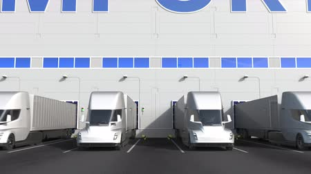 storing : Modern semi-trailer trucks at warehouse loading dock with IMPORT text. 3D animation
