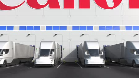 canon : Electric semi-trailer trucks at warehouse loading bay with CANON logo on the wall. Editorial 3D animation Stock Footage