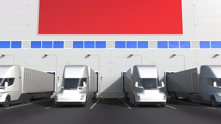 disposição : Electric semi-trailer trucks at warehouse loading bay with flag of CHINA. Chinese logistics related conceptual 3D animation Stock Footage