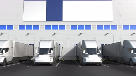 finland : Electric semi-trailer trucks at warehouse loading dock with flag of FINLAND. Finnish logistics related conceptual 3D animation Stock Footage