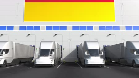 disposição : Modern trailer trucks load or unload at warehouse docks with flag of GERMANY. German logistics related conceptual 3D animation Stock Footage