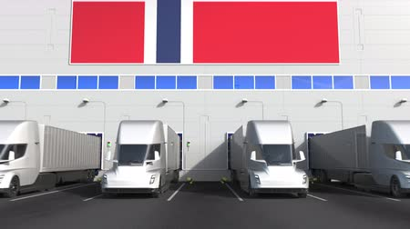 disposição : Trailer trucks at warehouse loading dock with flag of NORWAY. Norwegian logistics related conceptual 3D animation
