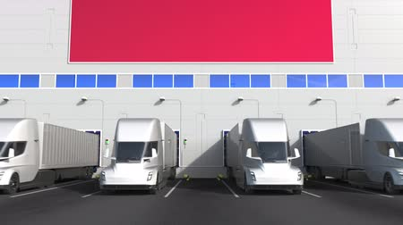 rakomány : Modern trailer trucks load or unload at warehouse docks with flag of POLAND. Polish logistics related conceptual 3D animation Stock mozgókép