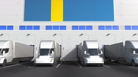 disposição : Trailer trucks at warehouse loading bay with flag of SWEDEN. Swedish logistics related conceptual 3D animation