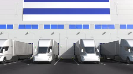 disposição : Electric trailer trucks at warehouse loading bay with flag of URUGUAY. Uruguayan logistics related conceptual 3D animation Stock Footage