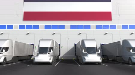 disposição : Electric trailer trucks at warehouse loading bay with flag of THAILAND. Thai logistics related conceptual 3D animation
