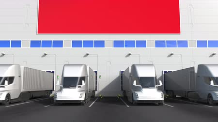 treyler : Electric trailer trucks at warehouse loading bay with flag of TAIWAN. Taiwanese logistics related conceptual 3D animation