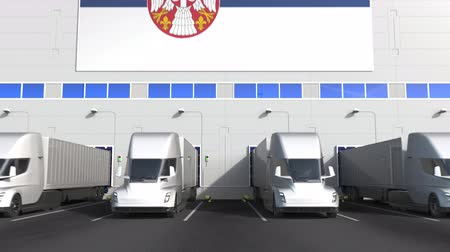 disposição : Electric trailer trucks at warehouse loading dock with flag of SERBIA. Serbian logistics related conceptual 3D animation Stock Footage