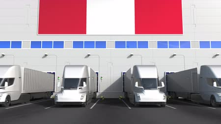 perui : Electric trailer trucks at warehouse loading dock with flag of PERU. Peruvian logistics related conceptual 3D animation Stock mozgókép
