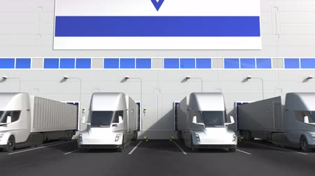 disposição : Electric trailer trucks at warehouse loading bay with flag of ISRAEL. Israeli logistics related conceptual 3D animation