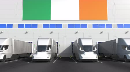 disposição : Electric semi-trailer trucks at warehouse loading dock with flag of IRELAND. Irish logistics related conceptual 3D animation