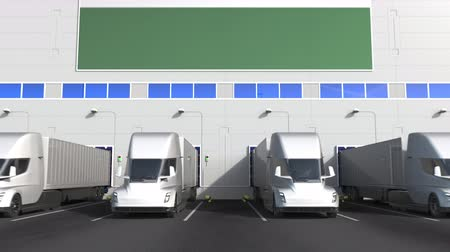 disposição : Electric semi-trailer trucks at warehouse loading dock with flag of HUNGARY. Hungarian logistics related conceptual 3D animation