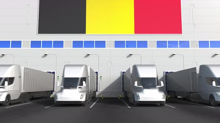 belgie : Trailer trucks at warehouse loading dock with flag of BELGIUM. Belgian logistics related conceptual 3D animation