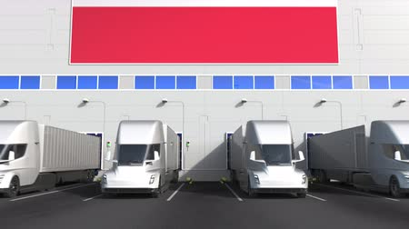 disposição : Electric semi-trailer trucks at warehouse loading bay with flag of AUSTRIA. Austrian logistics related conceptual 3D animation