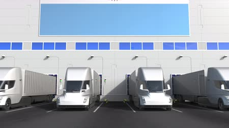 disposição : Trailer trucks at warehouse loading dock with flag of ARGENTINA. Argentinean logistics related conceptual 3D animation
